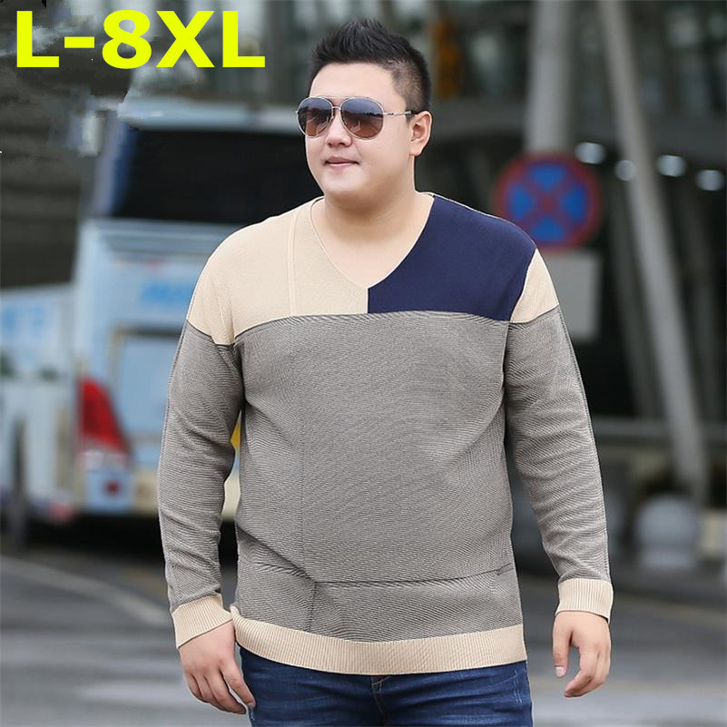 new Plus size 8XL 7XL 6XL V-Neck Slim Fit Sweater Men 2018 Fashion Spring Autumn Pullover Men Homme Leisure Solid Color Sweater