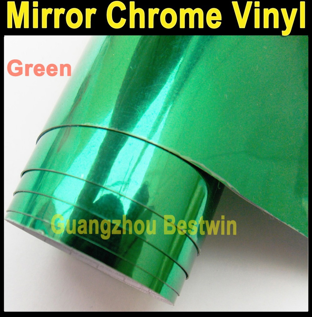 Whole sell high quality car wrap vinyl 1 52 30m green Mirror Chrome with Air bubble