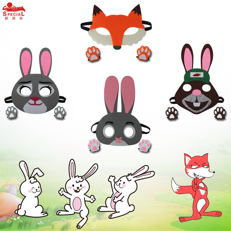 SPECIAL Laser Cutting Animal Kids Mask And Paw Light Felt Claw Masque Cute Costume Fox Baby Rabbit Costume Mask Girls Gifts