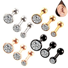 3pcs/lot Surgical Steel Ear Button Ring Stud Body Jewelry 3/4/5mm Mix Size Zircon Nose Tongue Stud Anti Allergic Earring(China)