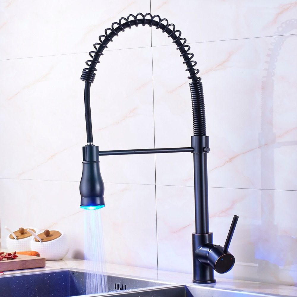 LED Lights Kitchen Sink Faucet Oil Rubbed Bronze Faucet Mixer Tap Pull Down Spray Single Hole& Handle Deck Mounted rozin® oil rubbed bronze led light pull down spray kitchen sink faucet swivel spout mixer tap