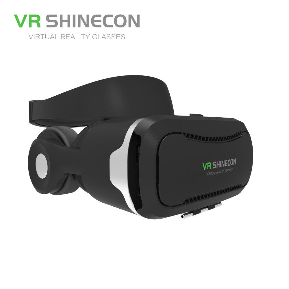 VR SHINECON 3D очки виртуальной реальности Гарнитура с наушниками Pro VR очки картонный шлем коробка для 4,7-6 дюймов смартфон