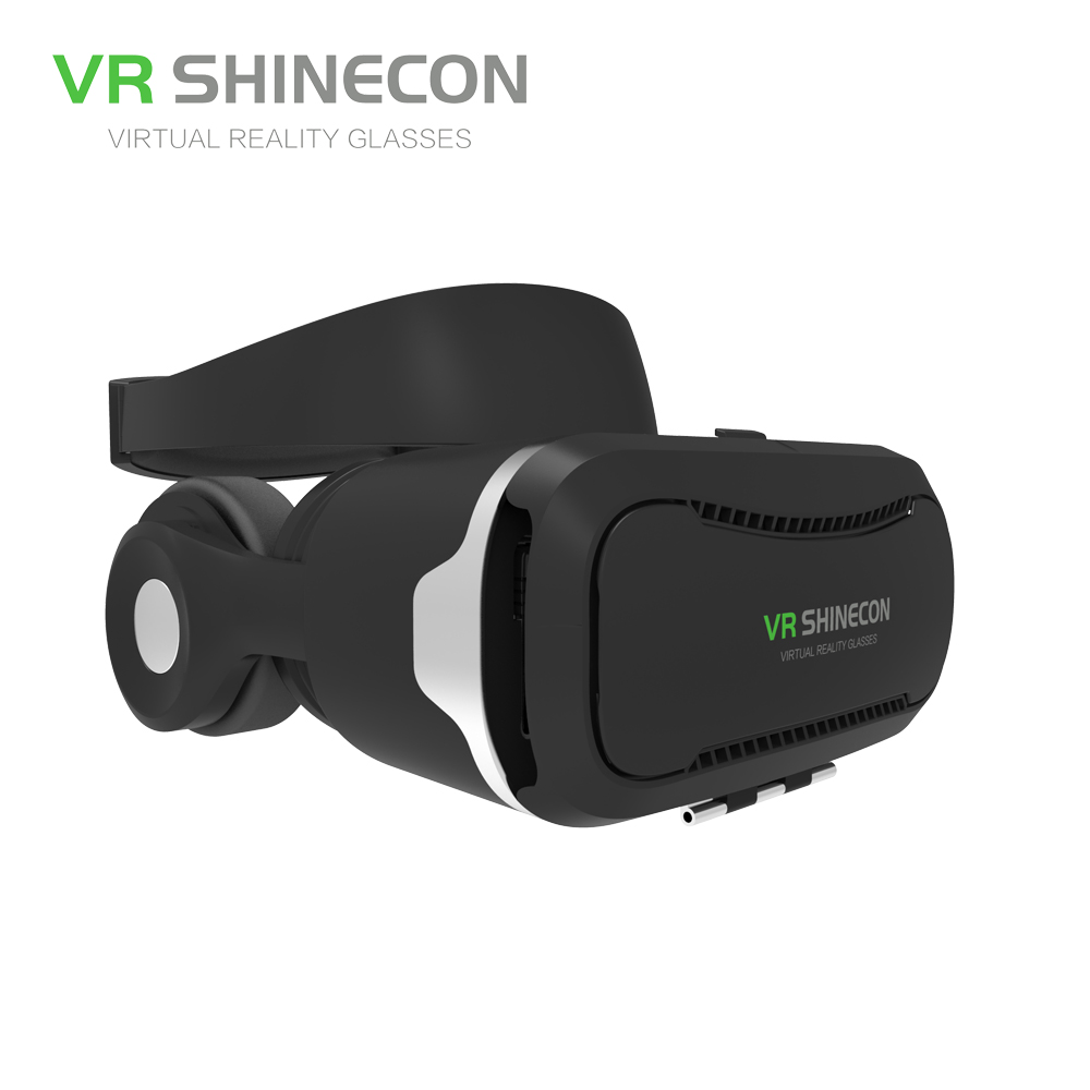 VR SHINECON 3D Virtual Reality Glasses Headset With Headphones Pro VR Glasses Cardboard Helmet BOX For 4.7-6 inch Smart Phone original xiaomi vr virtual reality 3d glasses mi vr box 3d virtual reality glasses cardboard mi vr for 4 7 5 7 inch smart phone