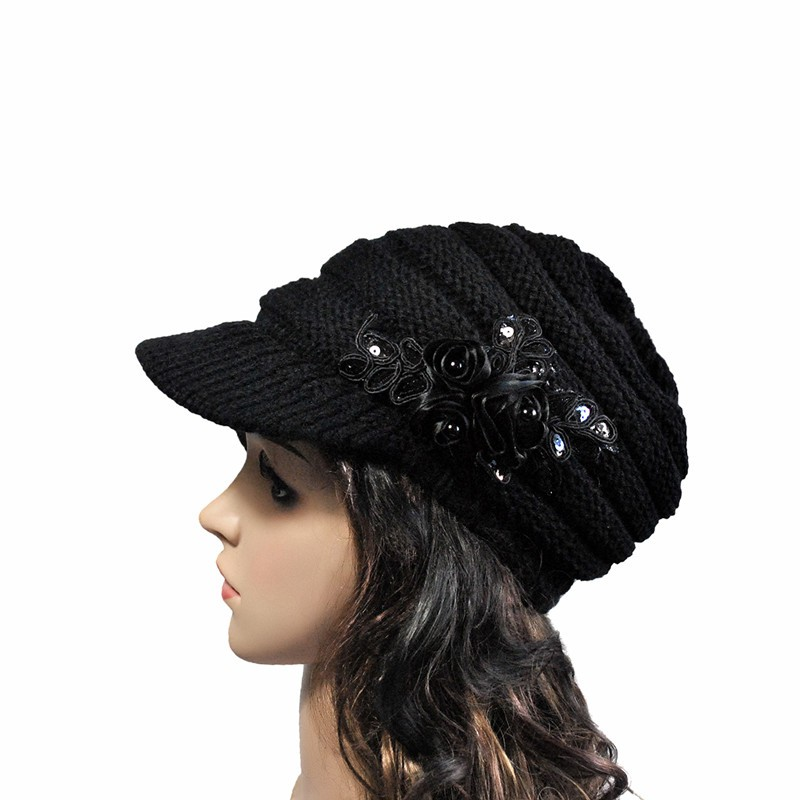 Fashion Autumn Winter Women Knitted Hat Ladies Sequins Flowers Casual Elegant Solid Hats