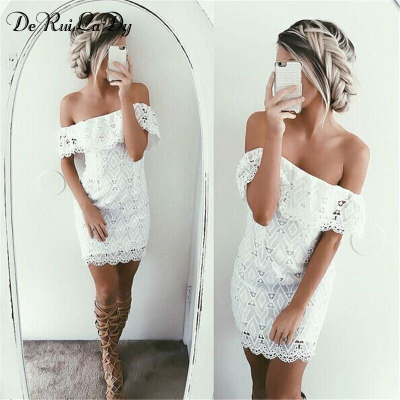 80d3445dc7e52 DeRuiLaDy Sexy Women Mini Dress Off Shoulder Sexy Lace Embroidery Bodycon  Dresses Summer Beach Party White