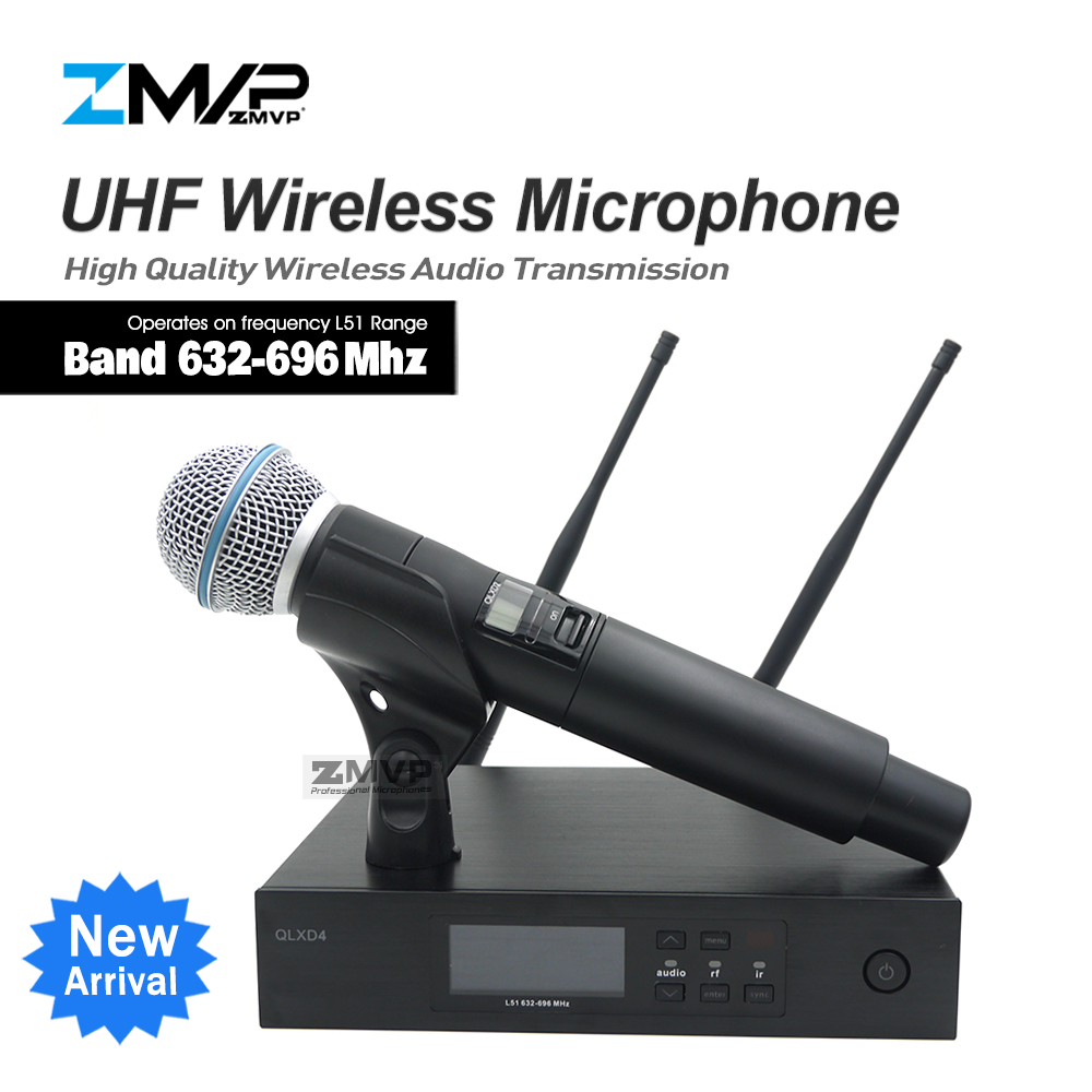 ZMVP QLXD4 UHF Professional QLX Wireless Microphone System With BETA58 Handheld Transmitter For Stage Live Vocals Karaoke Speech