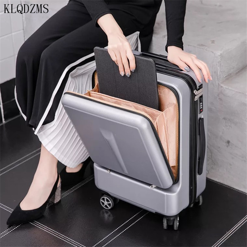 KLQDZMS 20/24Inch New Rolling Luggage With Laptop Bag ABS Travel Suitcase UltraLight Men Women Business Trolley Suitcase Wheels