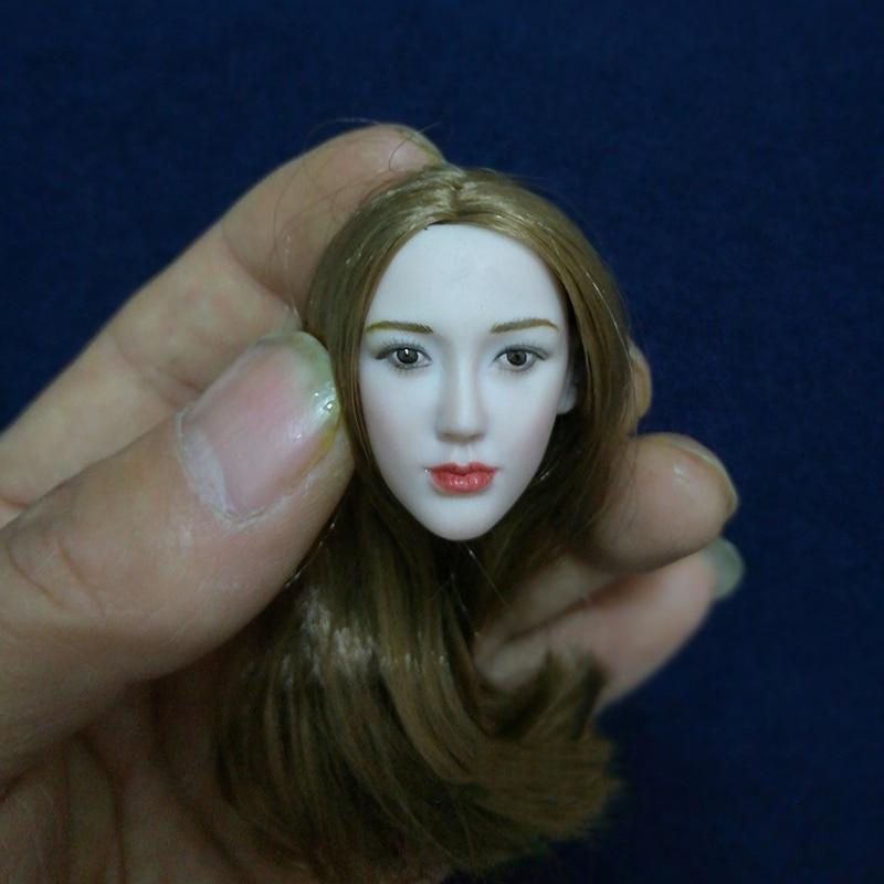 1/6 Asian Beauty Head Pale Face Coffee Hair DIY Models for 12Women Figures Bodies1/6 Asian Beauty Head Pale Face Coffee Hair DIY Models for 12Women Figures Bodies