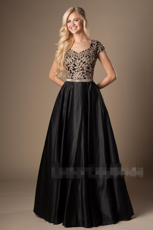 2019 Turquoise or longue a-ligne modeste robes de bal avec manches courtes perlée dentelle Satin longueur de plancher robes de soirée modeste - 4