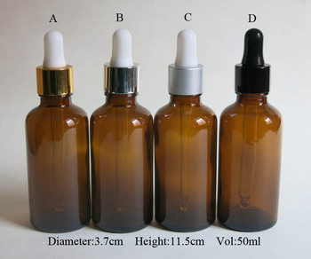 wholesale 100pcs 50ML Amber Glass Dropper packaging , empty brown 50ml Liquid Essential oil dropper Bottle
