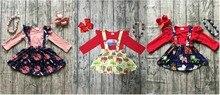 Ilkbahar/kış bebek kız giysileri pamuk camper bus bahçesinde çiçek halter düğmesi sapanlar elbise butik uzun kollu maç aksesuarları