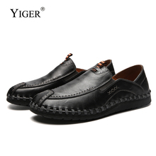 YIGER New Men Boat shoes Leather Casual men Loafers Leisure Male driving Soft and light Slip-on England Single  241
