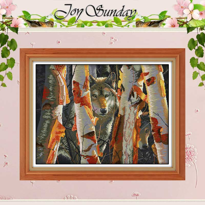 Guardians of White Birch Wolf Counted Cross Stitch 11CT 14CT Cross Stitch animals Cross Stitch Kits for Embroidery Needlework