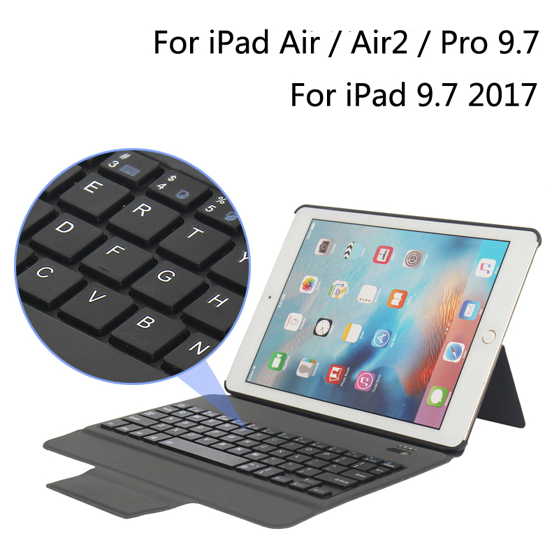For iPad5/6 New Bluetooth Keyboard Portfolio Folio PU Leather Case Cover For iPad 9.7 2017 / 5 / 6 / Air / Air 2 / Pro 9.7 +Gift 2017 new leather case cover beautiful gift new 1pc for ipad pro 12 9inch ultra aluminum bluetooth keyboard with pu kxl0421