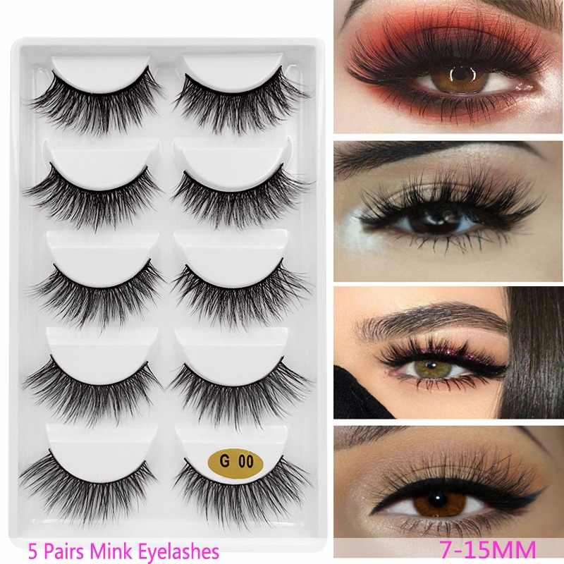 New 3D 5 Pairs Mink Eyelashes extension make up natural Long false eyelashes fake eye Lashes mink Makeup wholesale Lashes