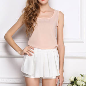 Women O-Neck Sleeveless Vest Chiffon Tops T-Shirt Blouse