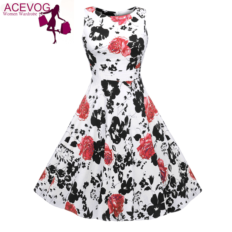 Buy Cheap ACEVOG Brand Women 2017 Summer Dress Sleeveless Tunic Casual Vintage 1950s 60s Party Rockabilly Big Swing Long Floral Dresses