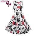 Acevog marca mulheres 2017 summer dress túnica sem mangas ocasional do vintage 1950 s 60 s festa rockabilly balanço grande vestido longo floral vestidos