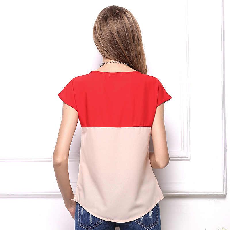 T-shirt Wanita 2020 Baru Fashion Musim Panas T Shirt Plus Ukuran Kemeja Sifon Jahitan Longgar Lengan Pendek T Shirt Vestidos HJY1362