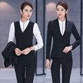 Profissional Formal de Trabalho Negócios Ternos Com 3 Peça Casacos + Calça + Colete Para Senhoras Blazers Escritório Calças Outfits Conjuntos