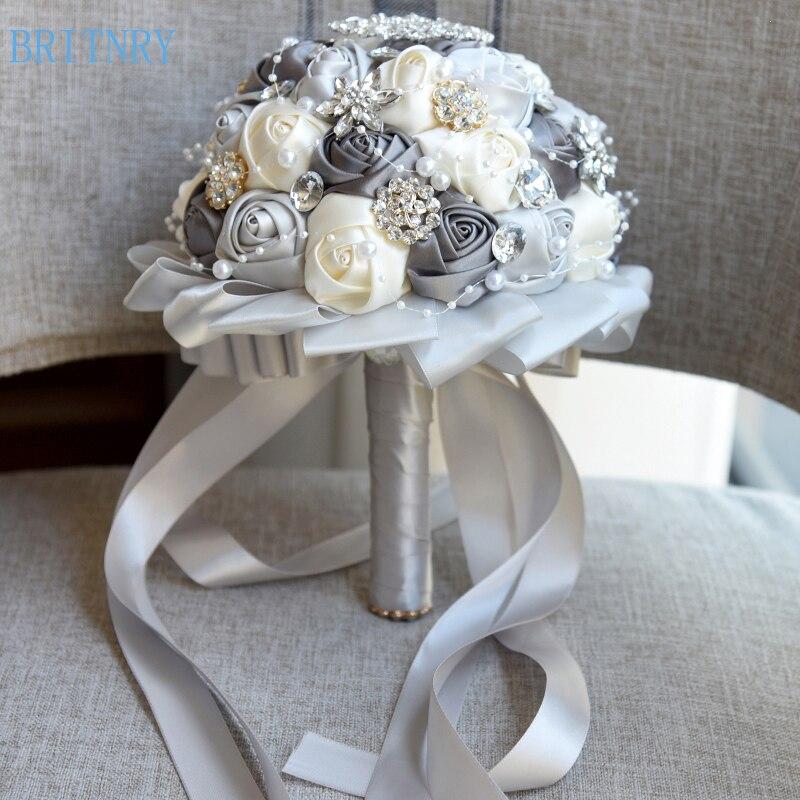 BRITNRY High Quality Brooch Bouquet Handmade Satin Flower Bouquet White Silver Cheap Wedding Bouquet for Brides-in Wedding Bouquets from Weddings & Events    1