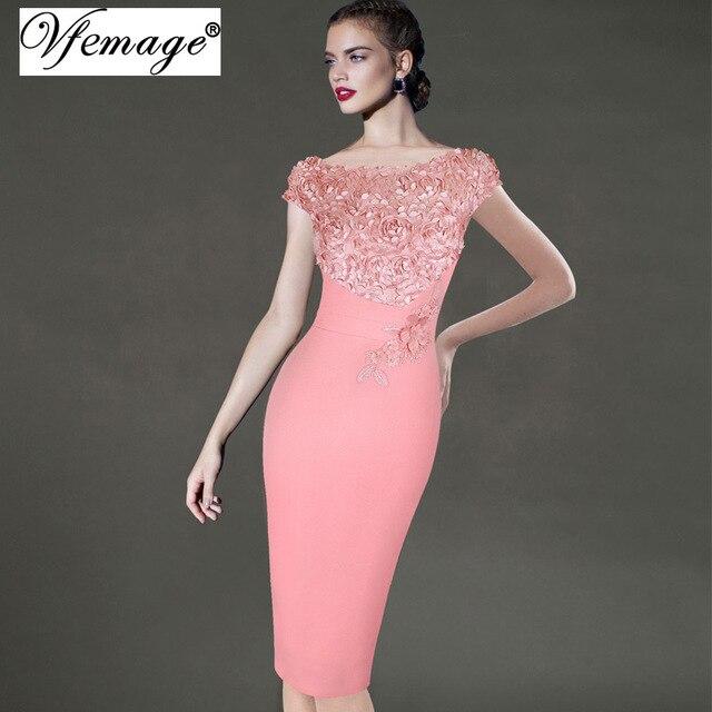 Vfemage женщин элегантный цветочный аппликация партии особых поводов невесты мать невесты карандаш bodycon dress 3997