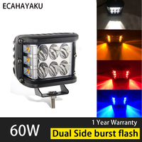 ECAHAYAU 4 Inch 60W blue red yellow Work Light Bar Offroad Motorcycle Foglights LED Light Bar For 4WD 4x4 ATV UTV SUV Jeep Truck