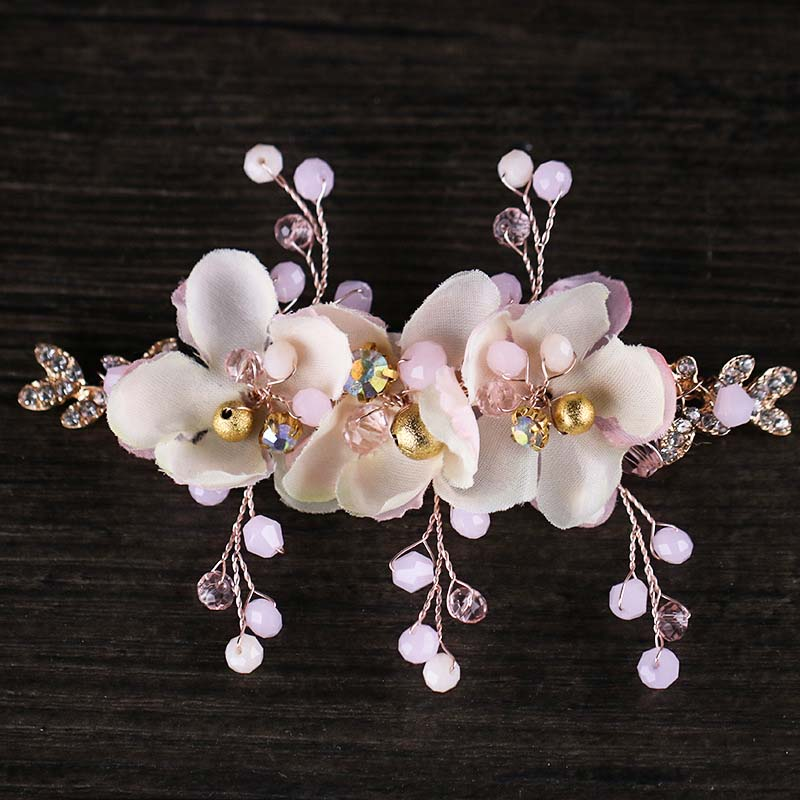Romantic Pink Flower Headband Bride Tiaras Wedding Hair Clip Jewelry Children's Dress Accessories Handmade Crystal Headdress