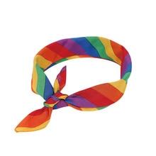 Rainbow Colour Bandanas Headband Hair Decoration Headwear Cute Girls Long Elastic Band Headscarf Cotton Accessories