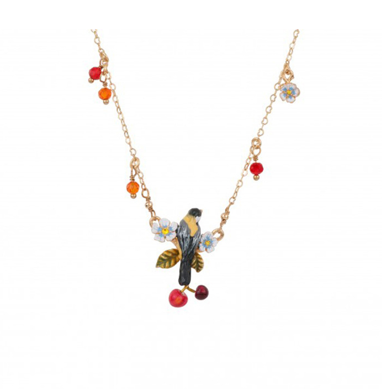 New Simple Elegant Flower Bird Cherry Necklace For Women High Quality Lady Party Jewelry