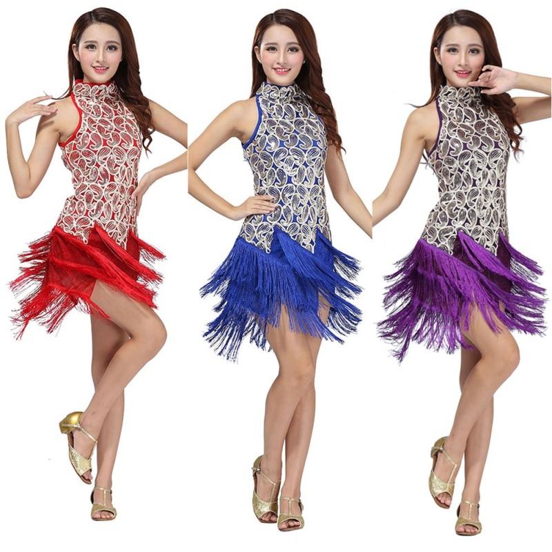 Sequins 2018 Fringes Skirt Women Latin Tango Ballroom Salsa Dance Dress Party Costume Tassel women Dresses