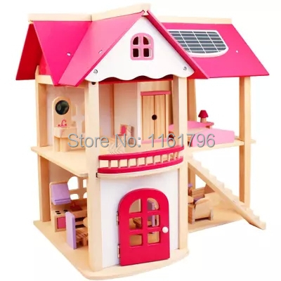 Children play house DIY toy wooden villa house simulation house    girl 's gift  ,for 6 years above children play simulation platen washing machine voice electric toy gift boy girls