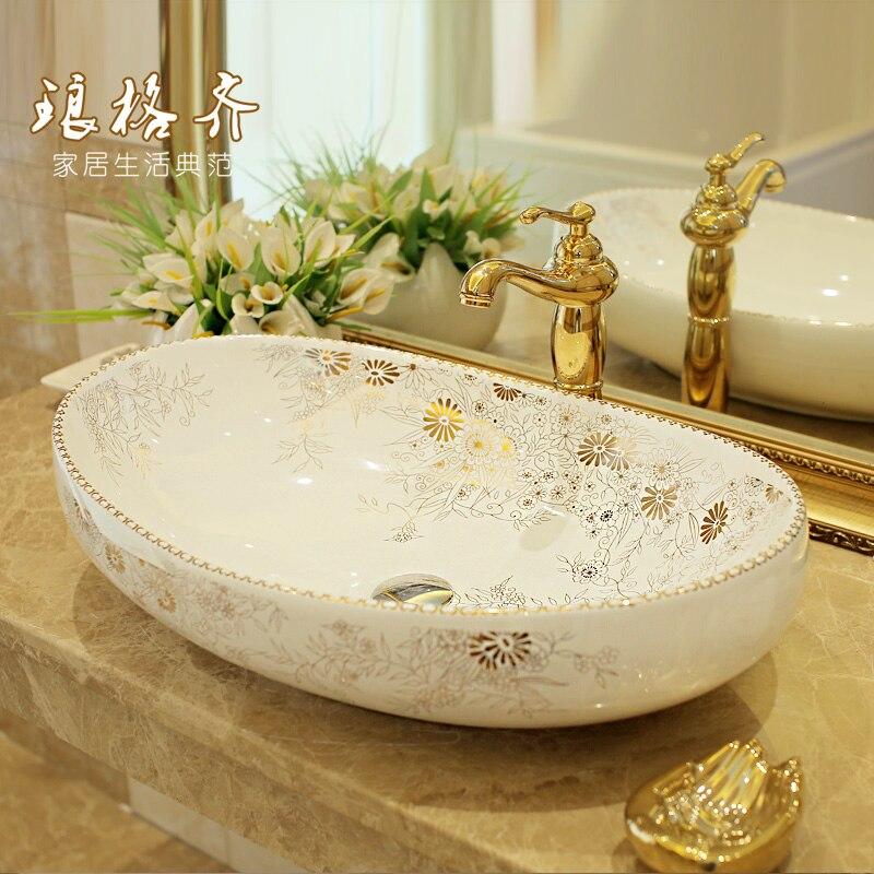Jingde Baño de cerámica lavabo, lavabo del arte de oro Jin qiuju Descripción