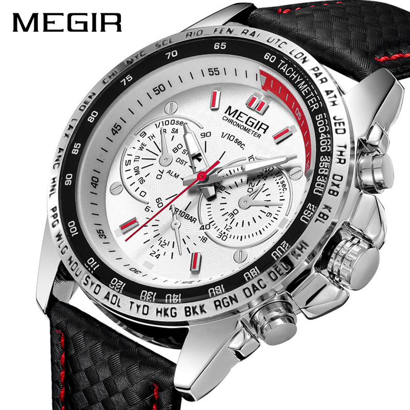 MEGIR Military Watch Men Relogio Masculino Fashion Luminous Army Watches Clock Hour Waterproof Men Wrist Watch Xfcs 1010