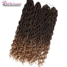 Богемные искусственные локоны в стиле Crochet волосы для наращивания кудрявые вязанные косички волосы богиня синтетические волосы Ombre Doris beauty
