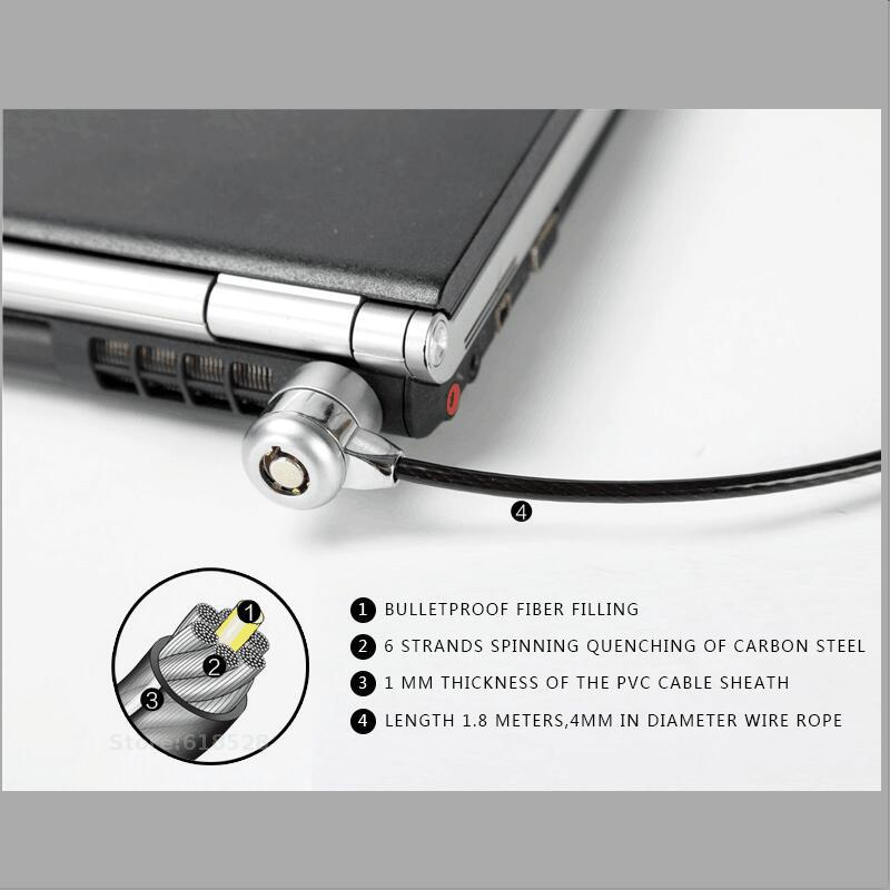 1.8m <font><b>Laptop</b></font> <font><b>Lock</b></font> Compatible Universal Security <font><b>Cable</b></font> <font><b>Lock</b></font> with 2 Keys fit 3*7mm <font><b>lock</b></font> hole image
