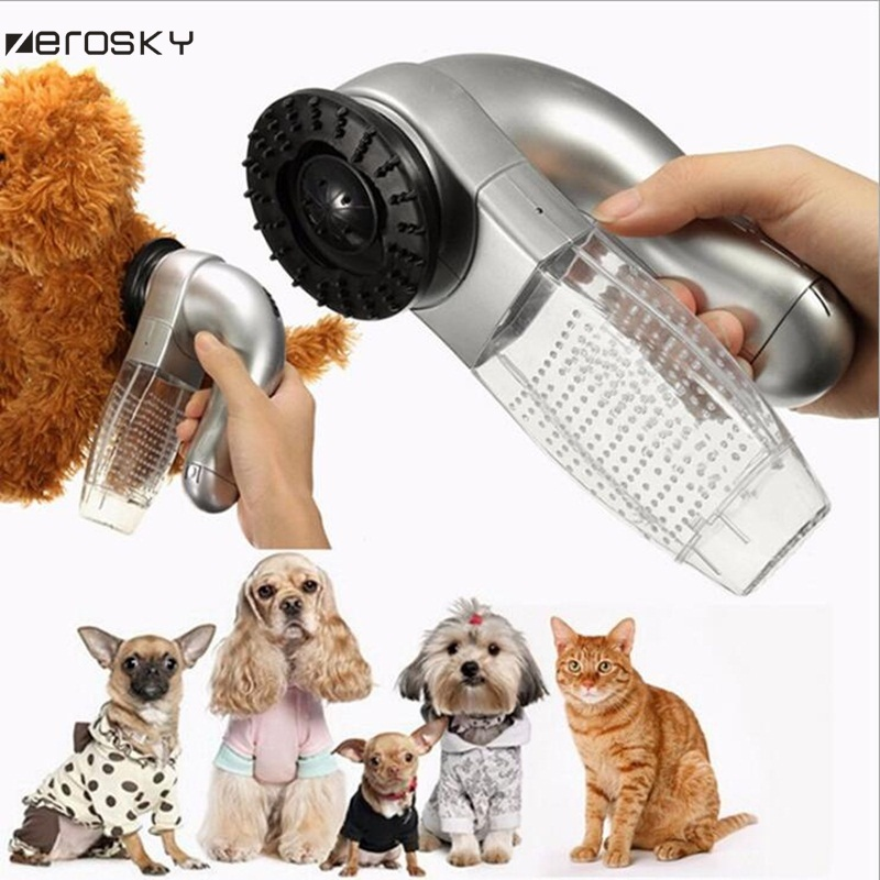 Zerosky 전기 애완 동물 강아지 개 헤어 리무버 진공 흡입 장치 개 고양이 애완 동물 액세서리 브러쉬 빗 키트를 정리 청소 도구