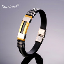 Starlord Punk Rock Bracelets&Bangles Men Jewelry Black High Quality Silica Gel/Stainless Steel Cool Men's H Bracelet Gift GH1796