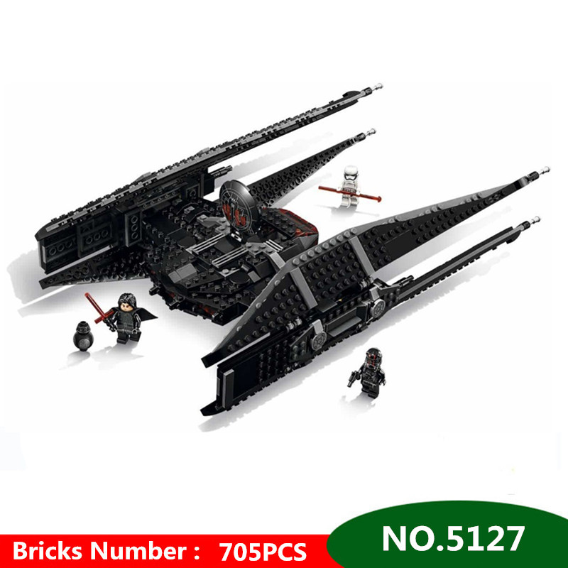 705pcs Diy Starwars Technic Kylo Ren's Tie Fighter Blocks Model Set Compatible With Legoingly Brick Toys For Children Brinquedos