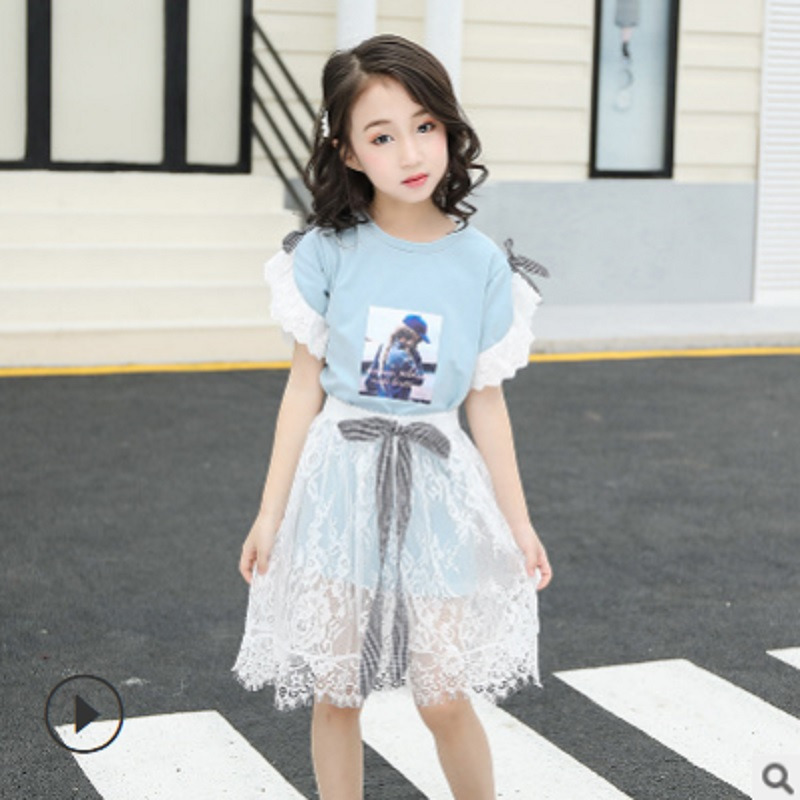 Girls T Shirt Mesh Dress Clothing Set 2019 New Spring and Summer Kids Clothes Sets Childrens Suits 4 Colors Size110-160 ly155Girls T Shirt Mesh Dress Clothing Set 2019 New Spring and Summer Kids Clothes Sets Childrens Suits 4 Colors Size110-160 ly155