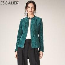 ESCALIER осень для женщин пояса из натуральной кожи Куртки повседневное свиной плюс размеры Верхняя одежда зеленый с длинным рукаво