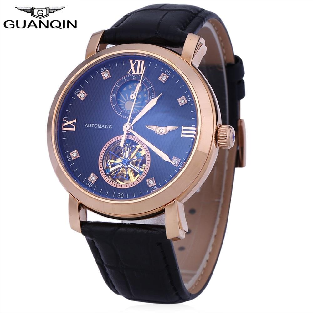 GUANQIN Men Tourbillon Auto Mechanical Watch Roman Numerals Scale 100m Water Resistance Transparent Back Cover Wristwatch guanqin gq70005 men auto mechanical watch