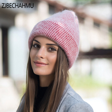 ZJBECHAHMU  Fashion Winter Hats Beanies Knitting Rabbit Wool Fur Hat Female Real Skullies Caps Gorros Solid Color 2019 New