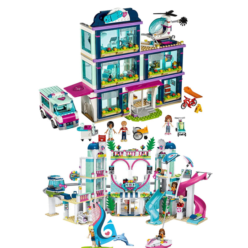 In Stock NEW 932pcs Heartlake City Park Love Hospital Girl Friends Building Block Compatible LegoINGly Friends 41318 Brick Toy