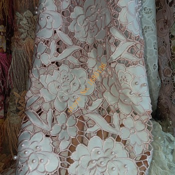 High grade African embroidery lace, Nigeria's best selling fabric plus pearls, luxurious wedding dress fabric