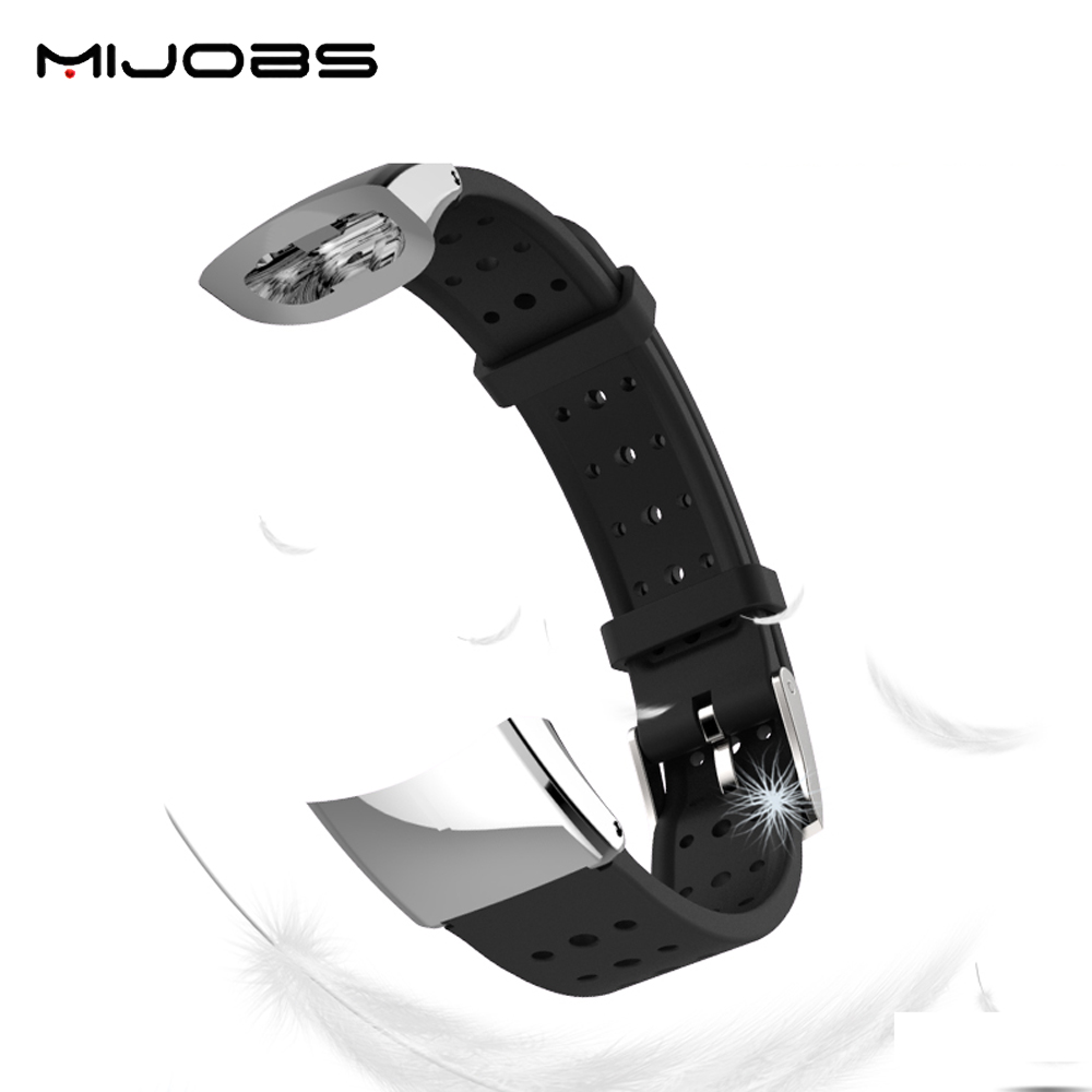 все цены на Mijobs Fashion Wristband with Metal Frame Replacement Sports Silicone Bracelet Strap Wrist Band For Huawei Honor 3 Smart Watch