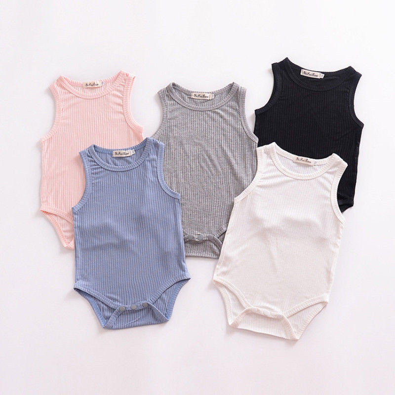860f9b579c9 Simple Newborn Baby Boys Girls Bodysuits Jumpsuit Outfits Sleeveless Summer  Cotton Solid Color Baby Bodysuits One