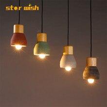 Современные цементные деревянные подвесные светильники лампы разноцветный абажур подвесной светильник блеск огни для столовой