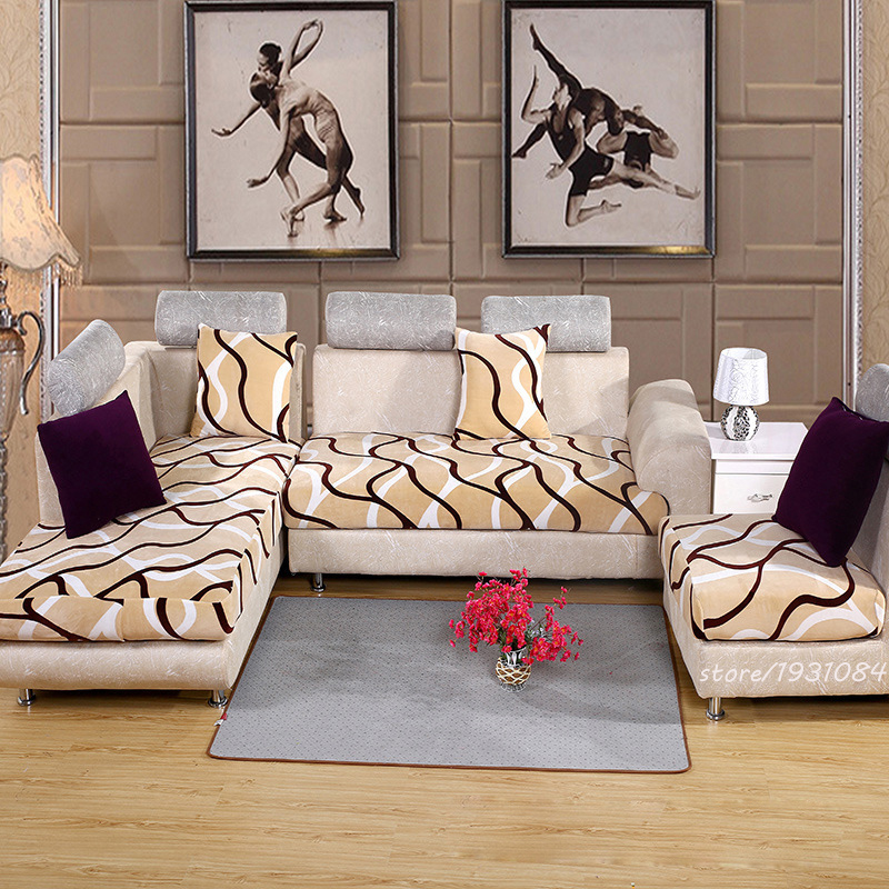 Sofa Cover Home Textile Solid Polyester Plush Fabric Cover Modern Style Sofa Cushion Sectional Sofa Cover Non-slip Slipcover