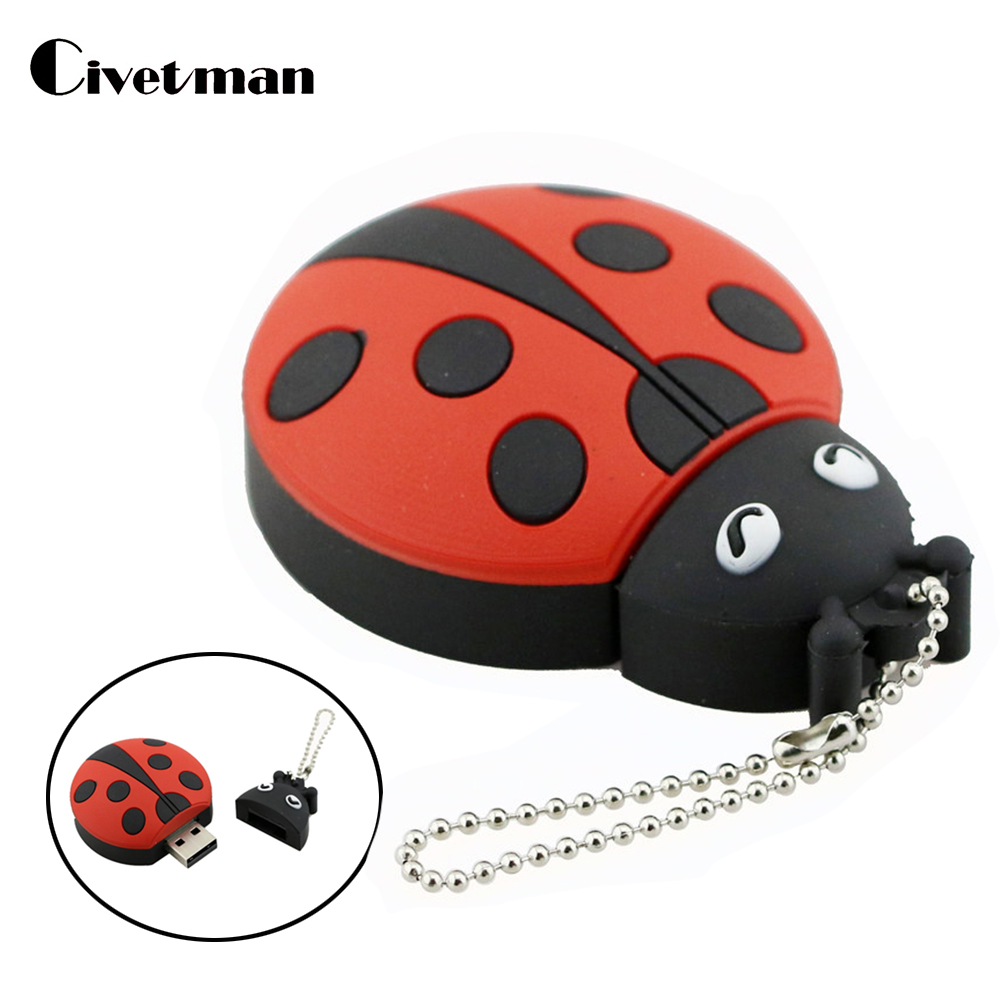 USB Flash Drive 8GB Cute Ladybug USB 2.0 Pendrive 32GB Pendrive 16GB USB Memoria Stick Beetles Flashdrive Memory Disk usb flash drive 32gb photofast i flashdrive memorycable